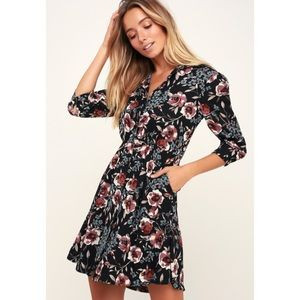 LULUS such a beauty floral button up dress